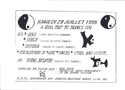 "Patrice Heyoka - Flyer 29/07/1995 - ""A Real Trip To Trance Goa"" (Béziers) <a style=""margin-left:10px; font-size:0.8em;"" href=""http://www.flickr.com/photos/110110699@N03/11329019106/"" target=""_blank"">@flickr</a>"
