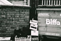 Greengrocer's Crates (Art is life playing to other rhythms) Tags: brickwall boxes analogue pentaxmesuper blackwhitephotography c41process classicblackwhitefilmonly ilfordxp2super400film