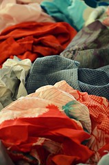 Rags of Wu (LolaNova) Tags: color vintage silk fabric worn kimono handsewn