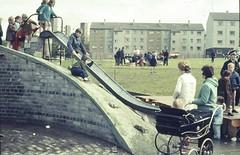 Playground in Edinburgh, 1971 (Podkin) Tags: film playground vintage 1971 edinburgh slide scan {vision}:{outdoor}=0964 {vision}:{mountain}=0804 {vision}:{car}=056