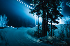 IMGP1992 (sundoor) Tags: blue trees light snow norway night lights frost nightscape pentax snowy nighttime alta stuckcar helios44m carheadlights k5ii