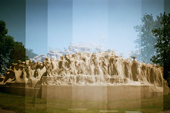 Fountain of Time (ilovecoffeeyesido) Tags: film analog 35mm availablelight toycamera multipleexposure 35mmfilm manualfocus plasticcamera washingtonpark expiredfilm chicagoil 100iso loradotaft sooc fountainoftime dianamini clearcolorfilm