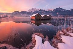 Three Brothers (CFellermann) Tags: schnee winter mountain lake snow alps reflection ice nature water sunrise germany cabin frost natur wolken huts alpen sonnenaufgang kochel