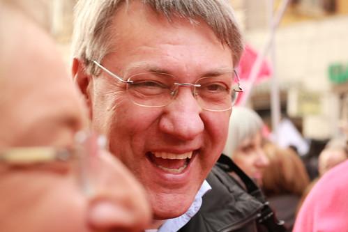 14 febbraio 2015. Maurizio Landini sorridente