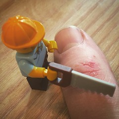 #lego #amputation (estherase) Tags: hardhat ouch saw lego finger amputation carpenter