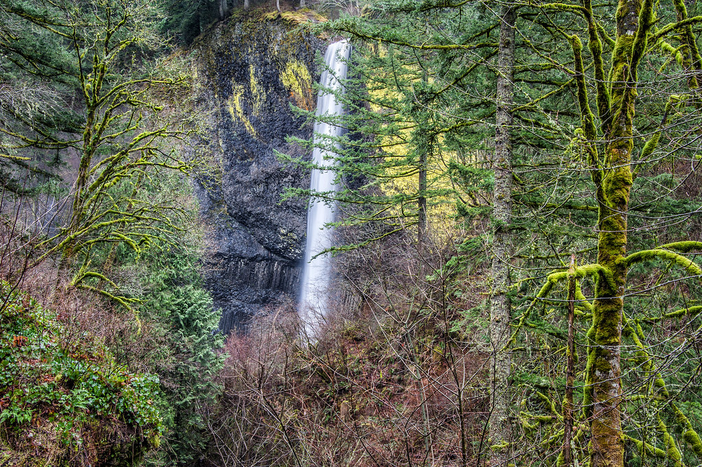 This is Latourell Falls near Portland, Oregon.  Despite the rain we had a blast on our extended weekend trip in Portland and the surrounding areas.  The falls are one of the first stops on the famous Columbia River Highway drive eastbound from Portland.