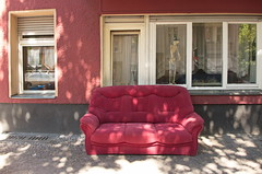 Please take a seat #459 (sterreich_ungern) Tags: windows red berlin abandoned facade skeleton lost photography death ship shadows contemporary flag seat couch collection sofa pirate titanic 44 nk skelett sammlung mennige ochsenblutfarben