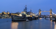 Belfast In London... (JH Images.co.uk) Tags: london tower water thames towerbridge river ship belfast bluehour dri hdr hms
