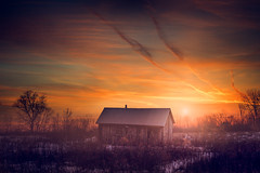 The Warning (Paul Barson) Tags: sunset green nature clouds canon dark landscape outdoors farm finest