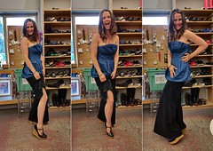 Leg (Whistler Whatever) Tags: woman girl smile shopping clothing shoes triptych dress leg fulllength skirt used laugh denim recycle knee bargain thriftshop