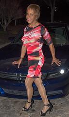 Kacey With Car! (kaceycd) Tags: pumps highheels s tgirl stilettoheels pantyhose crossdress spandex lycra tg stilettos minidress sexypumps opentoepumps peeptoepumps anklestrappumps