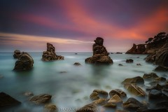 Fervor (Blai Figueras) Tags: longexposure sunset sea sky costa seascape beach water clouds wow landscape atardecer coast mar seaside agua rocks flickr stones horizon atmosphere playa paisaje le cielo paraiso costabrava rocas lloretdemar silkeffect