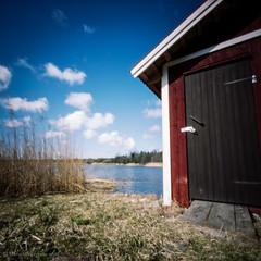 Our Boathouse for WPPD 2016 (ShimmeringGrains) Tags: sea building 6x6 film water analog mediumformat square island spring outdoor pinhole 120film coastal scanned boathouse zero2000 reala archipelago pinholephotography zeroimage gräsö kvadrat scannad wppd filmphotography fujireala100 reala100 zeroimage2000 båthus söderboda mellanformat wppd2016 zeroimage2000btn