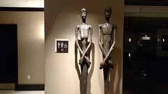 Which one do I use? (Tim Brown's Pictures) Tags: sculpture art statue metal bathroom hotel washingtondc modernart transgender restroom bathroomsign