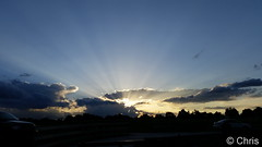 June 1, 2016 - Brilliant crepuscular rays at sunset. (Chris)