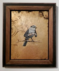 It's Quite a Birden to be so Clever: a Painting by Anna Gramova (steveartist) Tags: art birds contemporaryart paintings goldleaf whimsicalart smallworks smallpaintings annagramova birdswithhands