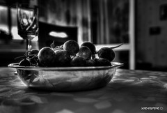 Grapes (Krysper) Tags: blackandwhite bw glass monochrome field contrast silver table high chair dynamic wine curtain grapes tablecloth range depth platter hdr baw hight