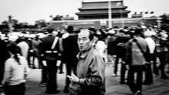 (Anwen2010) Tags: china beijing tiananmen tiananmensquare flag raising ceremony bw monochrome fuji xe2 street forbiddencity