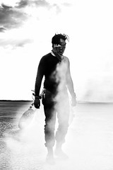 Untitled (ctklink) Tags: california blackandwhite bw lake zeiss desert smoke sony badass highcontrast dry tyler carl motorcycle bandana palmdale elmirage klink a7ii nikcollection sonnartfe1855
