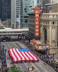 Chicago's 2016 Memorial Day Parade (YoChicago) Tags: chicago loop theater parade memorialday 2016 flag american yochicago marquee block37