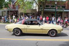 Yellow Pontiac Firebird in Memorial Day Parade, Dexter, Michigan, 2015 (marylea) Tags: classic car yellow community classiccar michigan parade firebird pontiac dexter memorialday 2015 may25 memorialdayparade washtenawcounty