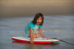 Jovie riding a boogie board, sort of (Aggiewelshes) Tags: beach june waves sandiego missionbeach boogieboard jovie 2016