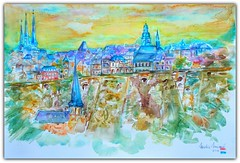 Watercolour:...Evening Glow, view on the 'Corniche', LUXEMBOURG-City (Nadia Minic) Tags: houses art evening town glow view cathedral natur churches atmosphere corniche watercolour colourful luxembourg fortifications oldtown abendhimmel festung luxembourgcity ueberrest artistnadiaminic
