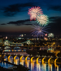 Happy Independence Day - 2016 (Greg Lundgren Photography) Tags: urban holiday reflection minnesota night cityscape fireworks minneapolis celebration mississippiriver twincities 4thofjuly independenceday crowds stonearchbridge
