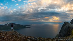 Brosmetinden (tryggstrand) Tags: ocean travel sunset sea summer sky panorama mountain color nature water weather norway clouds landscape nikon flickr view pano tamron