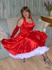 2 Sat in red (janegeetgirl2) Tags: red white black stockings contrast vintage neck tv high glamour opera dress jane crossdressing tgirl gloves transvestite heels suspenders gee satin crossdresser halter ts petticoat stilettos fully nylons garters fashioned seams