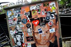 sickers etc.. (wojofoto) Tags: streetart holland amsterdam graffiti stencil stickers nederland netherland area prinsengracht artic wojo wolfgangjosten wojofoto ivesone