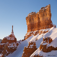Majestic Morning At Bryce (Alfred J. Lockwood Photography) Tags: morning winter orange snow nature rock landscape utah nationalpark sandstone brycecanyon clearsky rockformation brycecanyonnationalpark alfredjlockwood