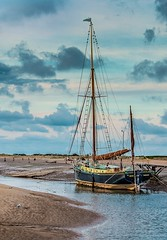 Moored... (+Pattycake+) Tags: blue light sea sky reflection water clouds landscape evening boat waves norfolk sails peaceful coastal mooring inlet barge blakeney evenig moored efs1022mm northnorfolk canoneos70d