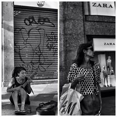 image (Luis Iturmendi) Tags: madrid street people blackandwhite bw blancoynegro monochrome shopping monocromo calle ukulele gente streetphotography happiness anxiety ukelele