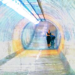 Pastel walk (Lemon~art) Tags: light woman colour london texture bicycle cyclist pastel tunnel manipulation keepleft nocycling hiddenlondon underthethames