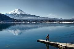 Lakeshore (OrangeK7) Tags: blue lake japan lakeside lakeshore relection fujisan