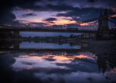 Hammersmith Bridge with Bus (Mike Hewson) Tags: bridge sunset reflection london thames reflections lumix capital hammersmith panasonic gx8 photo24 capitalreflections leicasummilux15mm