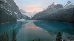 Lake Louise at Sunset_DSC_2494_stitch_2_D (renrut01) Tags: sunset lake snow canada reflection hotel colours view britishcolumbia victoria glacier louise