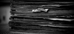 Comic book stack (shobanjayaraj) Tags: bw texture 2016 week25 photochallengeorg
