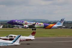 G-FBEM take off. (aitch tee) Tags: aircraft takeoff airliner embraer flybe walesuk cardiffairport e190 gfbem specialmarkings maesawyrcaerdydd cwlegff
