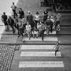 The meeting. (dansefoto) Tags: norway oslo fromabove streetphotography people snapseed blackandwhite crossing meeting street instagramapp square squareformat iphoneography