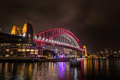 The Coathanger (robertdownie) Tags: new bridge red sky orange wales night clouds lights harbor purple harbour south sydney vivid australia nsw coathanger