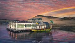 Ramkot Sunset (nabeel461) Tags: camera pakistan light reflection colors clouds canon river landscape photography boat fort dam punjab 1740mm 6d watar khas mangla mirpur ramkot