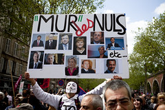 Front de Gauche Demonstration for a 6th Republic -  05May13 - Paris (France) - 17 (philippe leroyer) Tags: street 6 man paris sign word pc mask pg demonstration cardboard cons anonymous sixth rue pcf pancarte mur rpublique panneau 6th manif manifestation homme masque gauche finance 6me particommuniste nuls fdg sixime austerity eelv austrit rpublic partidegauche frontdegauche europeecologielesverts murdescons 6merpublique murdesnuls