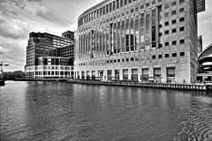 Canary Wharf HDR to B&W (neilreynolds1212) Tags: city uk blackandwhite london water architecture landscape hdr