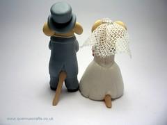 The Happy Couple (QuernusCrafts) Tags: wedding cute mice polymerclay bouquet brideandgroom weddingcouple weddingcaketopper tophatandtails weddingmice quernuscrafts