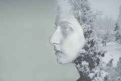 child of winter (christine qabar) Tags: trees winter portrait snow tree me face self landscape nikon exposure child snowy doubleexposure overlay double snowytree childofwinter