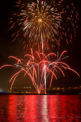 Glory with Red (geminivision) Tags: sky night river fireworks louisville july4th independenceday priya swapna vamsi ravuru