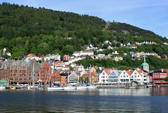 Bergen wharf (zug55) Tags: norway norge atlantic northsea wharf fjord bergen atlanticocean bryggen flyen flybanen byfjorden