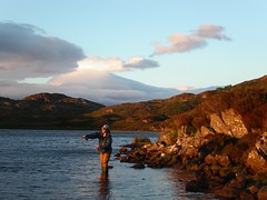 Fly fishing on Loch Culag at 10pm in July
